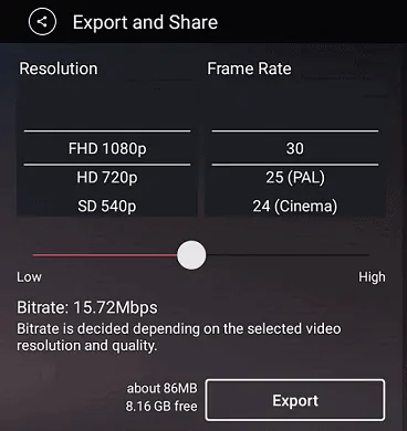 Select-Resolution, Frame Rate,and Bit Rate of your video