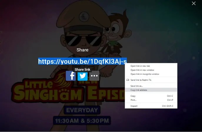 Sharing-YouTube-video-using-shar option icon-visible-on-the-top-right-of-YouTube-Video-Player