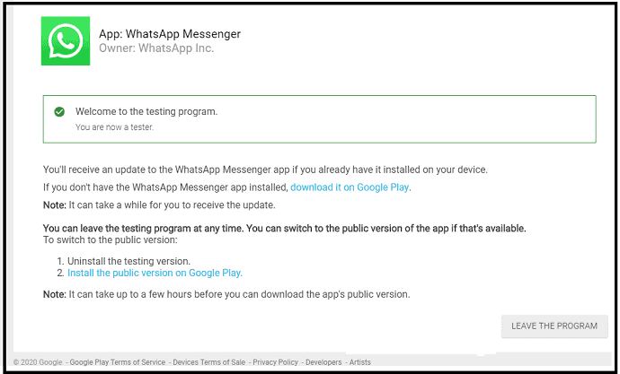 Confirmation Message from WhatsApp Inc that you are now a tester