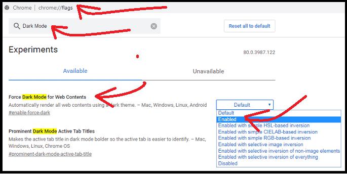 Enabling DarkMode on Chrome browser using Chrome dark mode flags