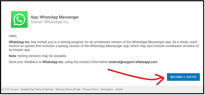 WhatsApp-Beta-Test-webpage-inviting-you-to-test-the-unreleased-version-of-WhatsApp Messenger app