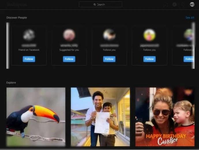 Instagram desktop version-explore-page-in-dark-mode