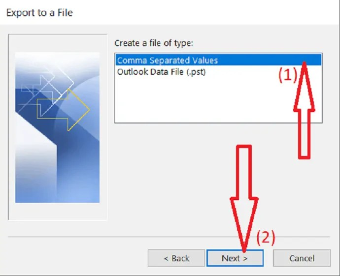 create a file of type comma separated values.