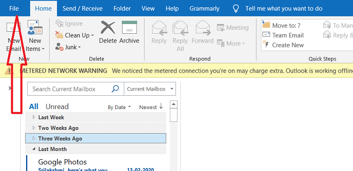select on file in outlook.