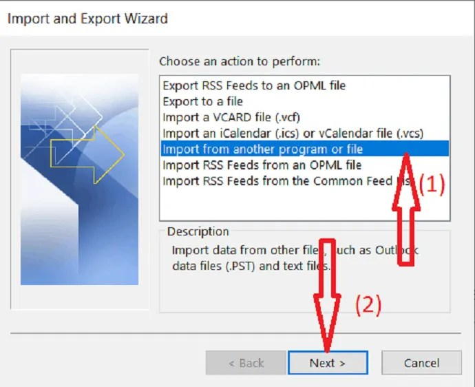 choose import from another program or file from the dialog box.