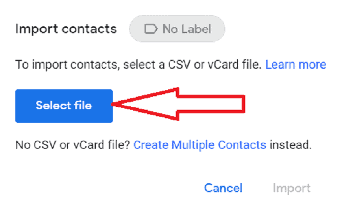 select file which you want to import.