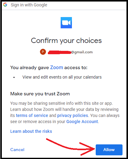 Allow-Zoom-to-access-Google-Calendar