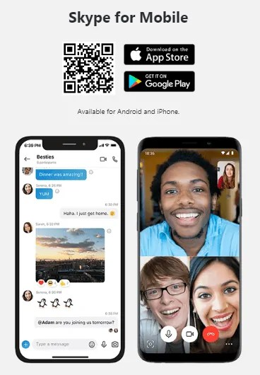 Skype Mobile App-download-page-for-Android-and-iOS-devices