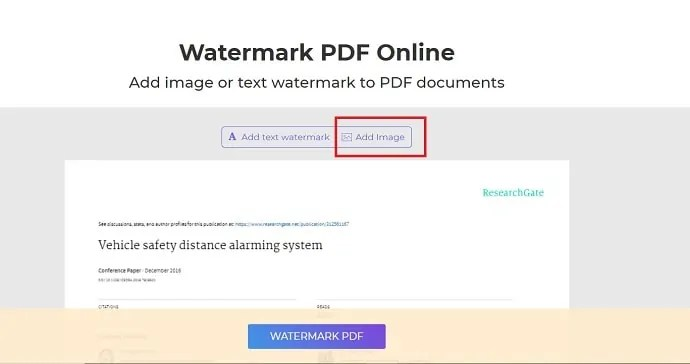 select Add image to upload image as a watermark.