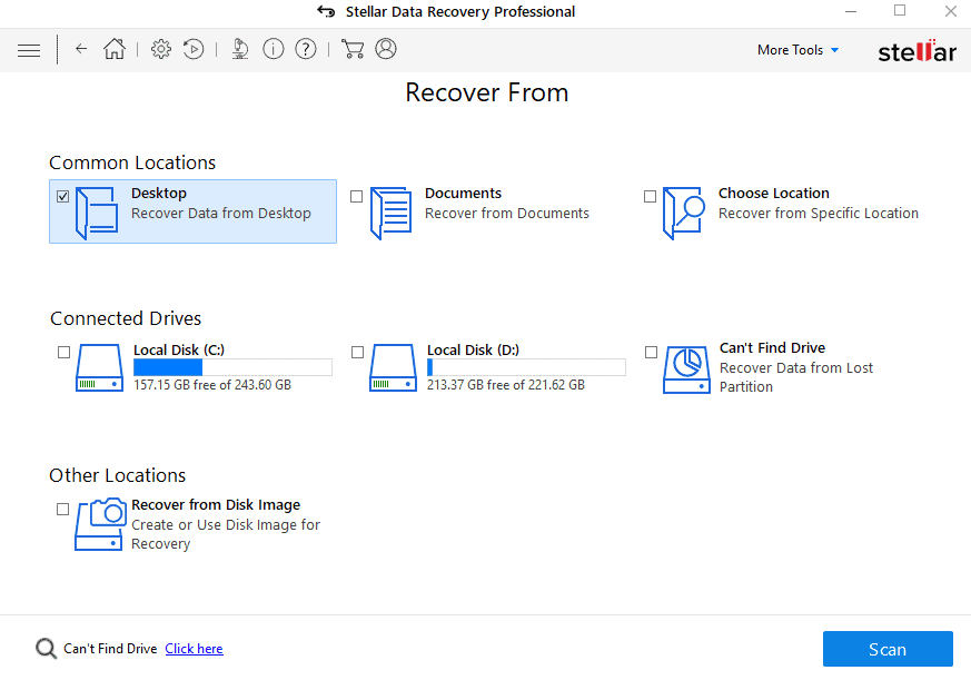 Select location in Stellar windows data recovery