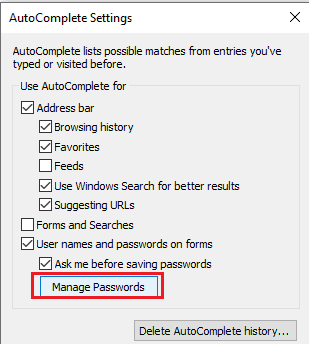 manage password settings