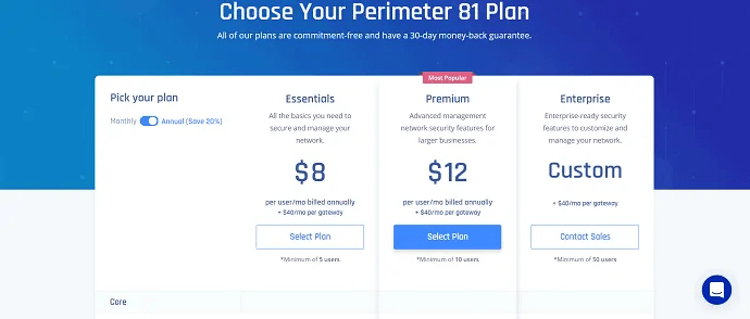 price plan of perimeter81