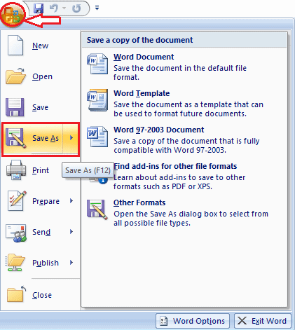 save as option in ms word