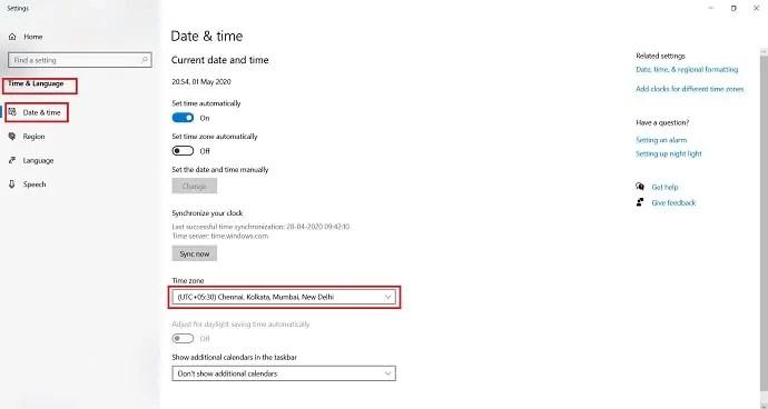 click on timezone drop box.