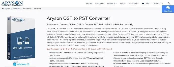 ARYSON- best OST to PST converter software
