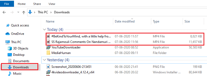 downloded videos in the download folder