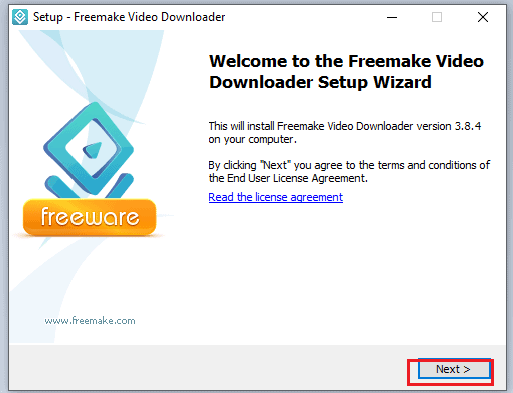 welcome screen of the freemake video downloader