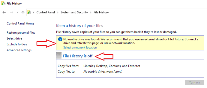 check file history off or on