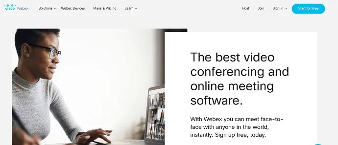 Cisco Webex meeting official website page