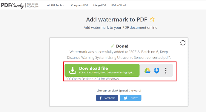 select download option.