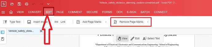 select edit option and select remove page marks.