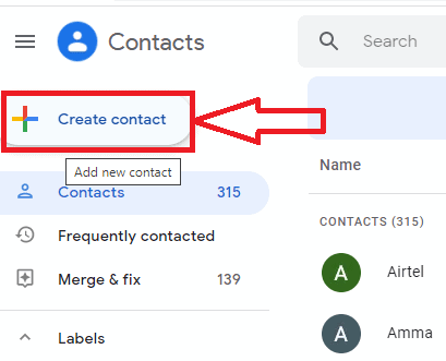 Click on create contact