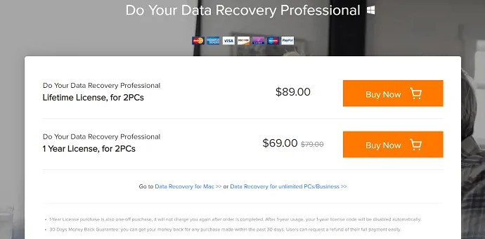 price and plans of Do Your Data Recovery.