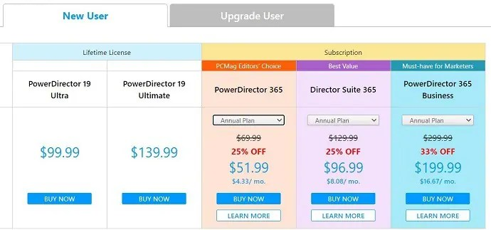 Power Director Pricing
