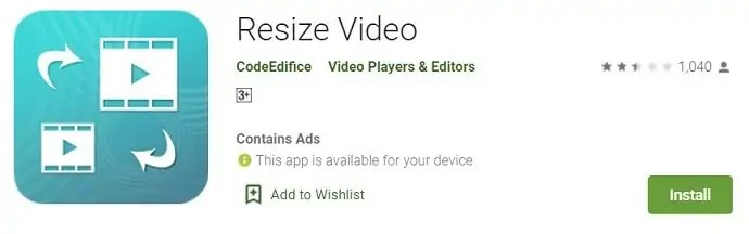 Resize video android Application