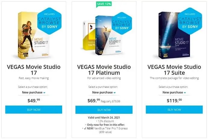 Sony Vegas Movie studio Pricing