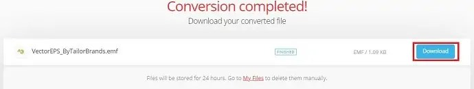 Download converted file