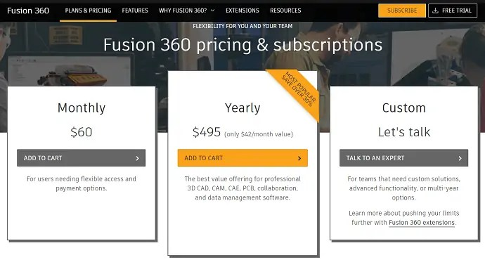 Fusion 360 Pricings