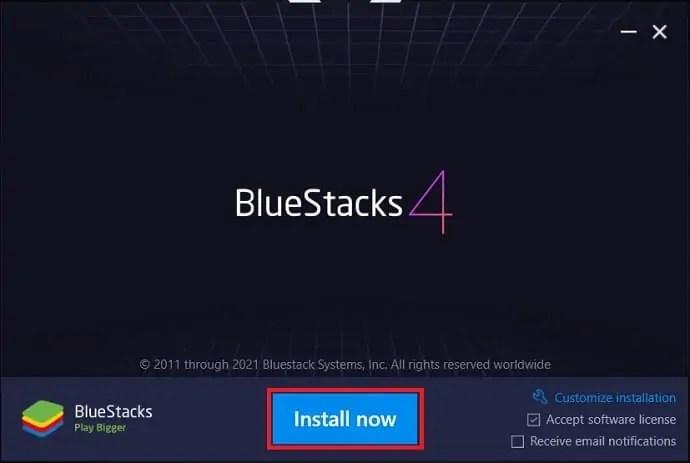 Bluestacks Installation wizard