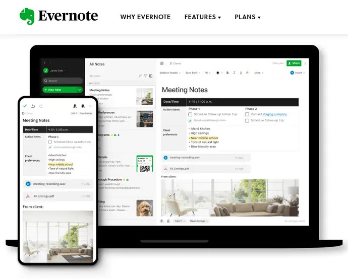 Evernote official page