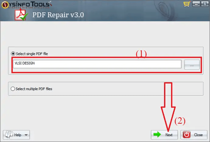 Select the corrupted PDF file