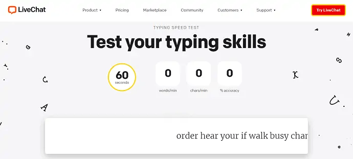 LiveChat - Test Your Typing skills