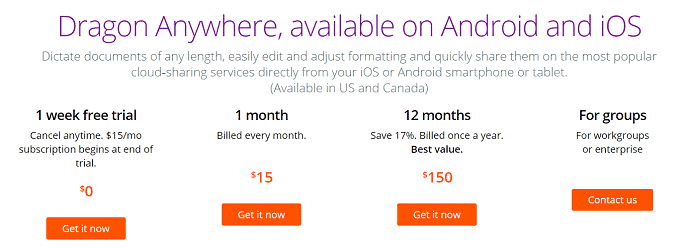 Dragon Anywhere Pricing