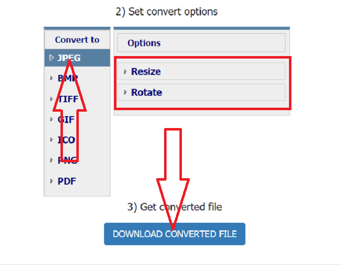 Select the output format and download the file.