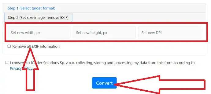 Set the size of the image and click on convert.