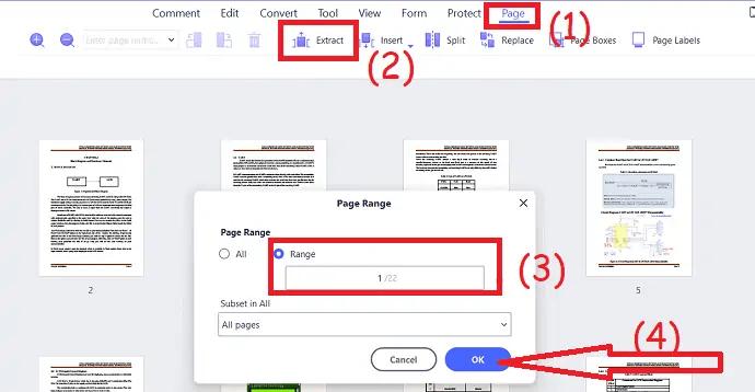 enter page range
