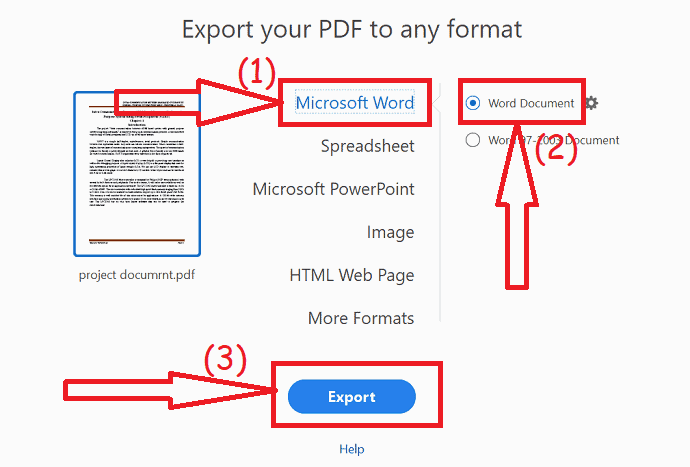 select the output format as Word and click on export.