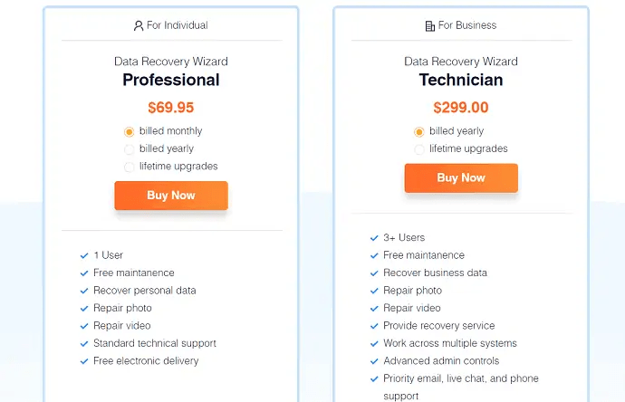 price and plans of EaseUS Data recovery