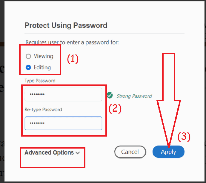 protect using password
