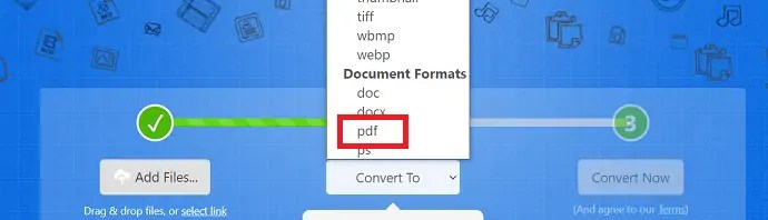 selection of PDF format