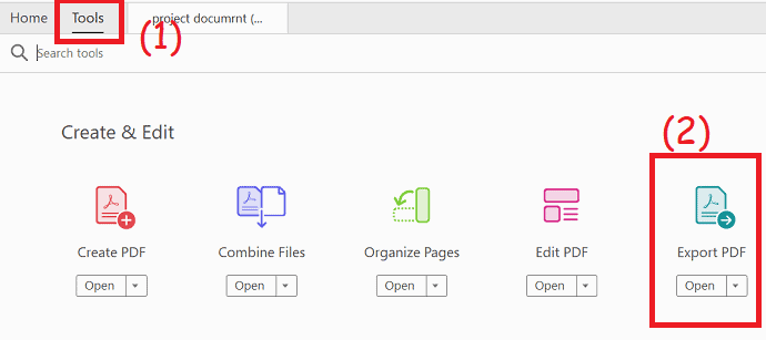 Selection of Export to PDF option