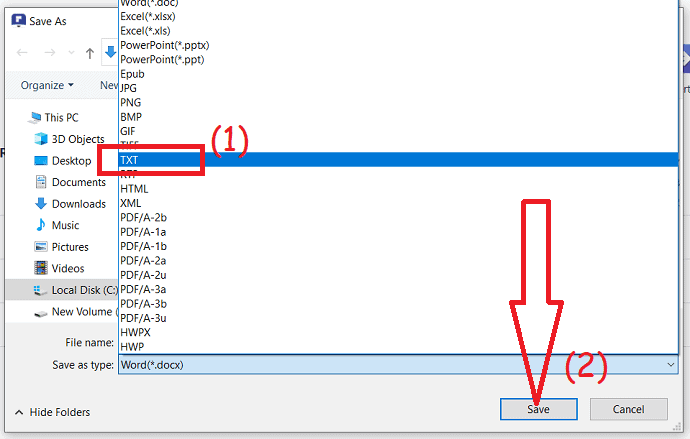 select the output format and click on save
