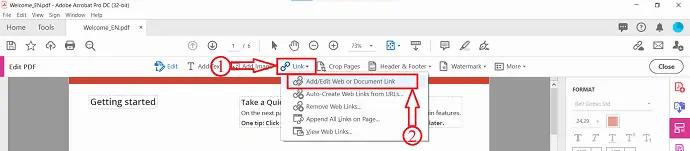 Add/edit web or Document Link in Adobe Acrobat DC