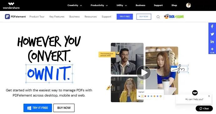 Wondershare PDFelement Homepage