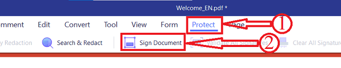 Protect option in PDFelement