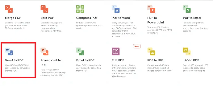 select Word to PDF option